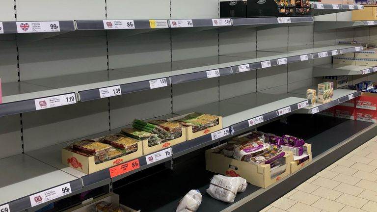 Empty shelves in the Lidl