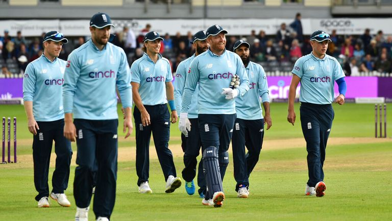 England players walk off the field at the end of Sri Lankan innings during the third one day international cricket match between England and Sri Lanka, at Bristol County Ground in Bristol.