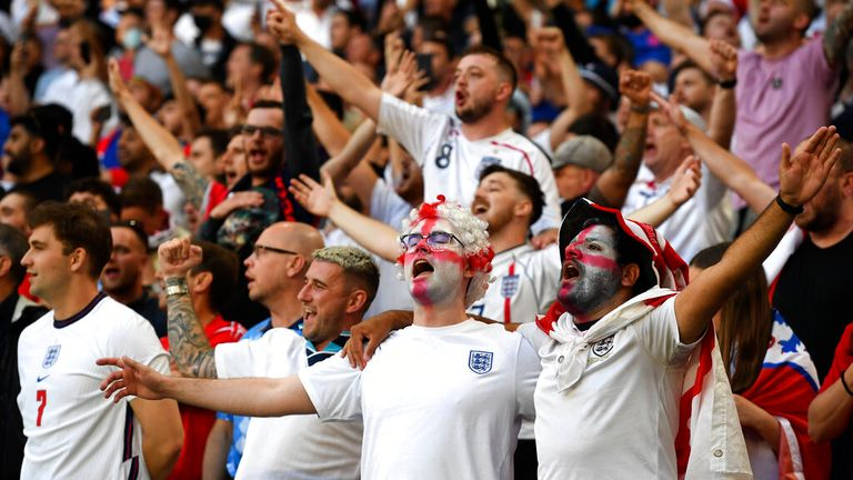 England fans created an electric atmosphere inside the stadium. Pic: AP