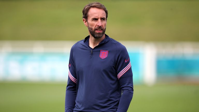 Gareth Southgate during a training session at St George's Park