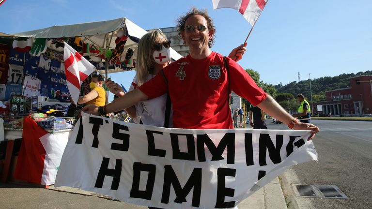 Fans in Rome prior to watching England v Ukraine