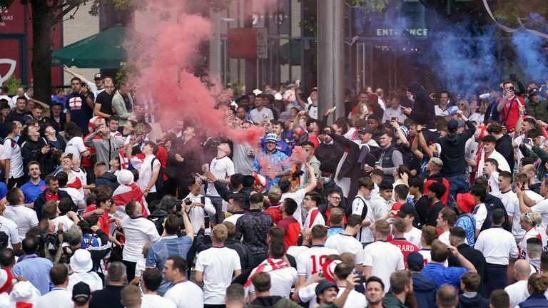 Fans outside Wembley Stadium ahead of the UEFA Euro 2020 semi-final