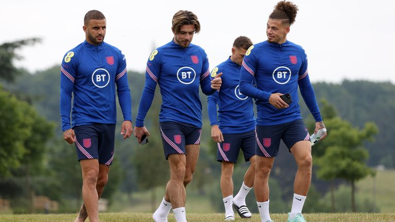 Jack Grealish (centre) will be hoping to start after impressing off the bench against Germany