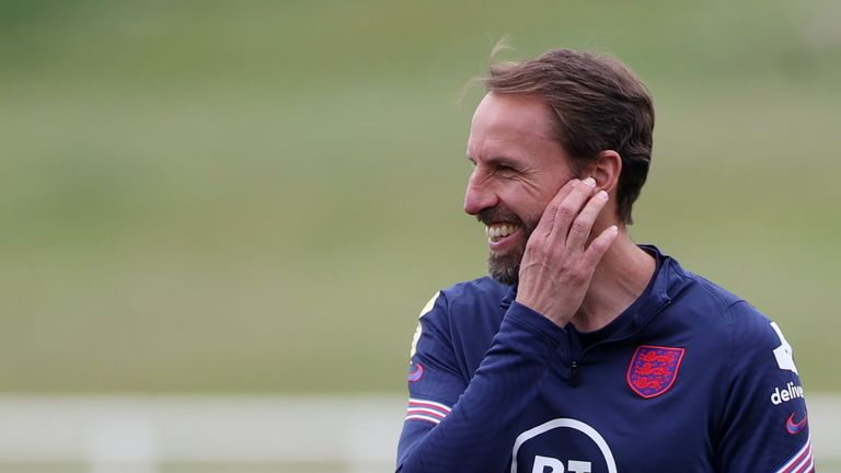 Manager Gareth Southgate was in good spirits ahead of the match