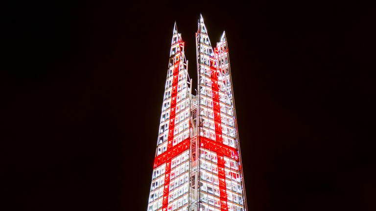 The Shard lit up in England's colours