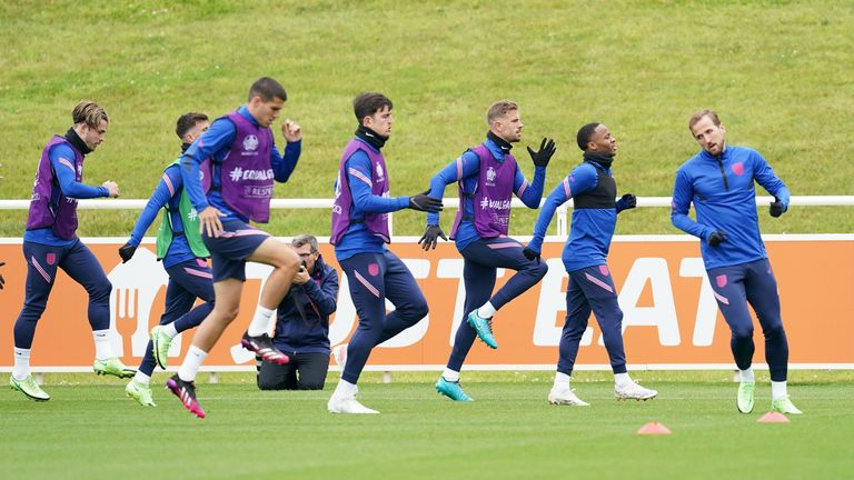 England's Harry Kane (right) and team mates during a training session at St George's Park, Burton upon Trent. Picture date: Tuesday July 6, 2021.