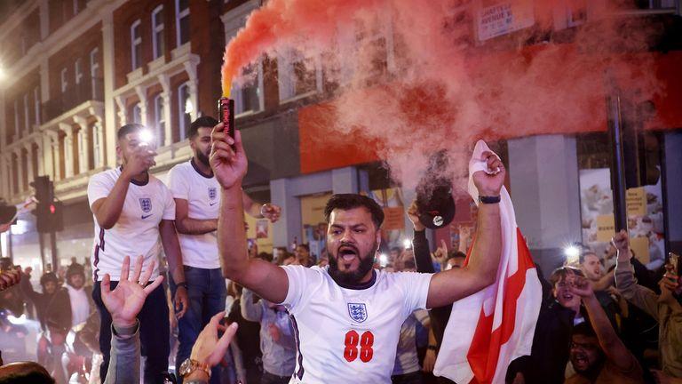 Fans gather for England v Denmark