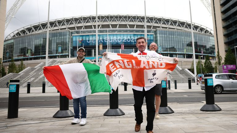 Fans of Italy and England outside Wembley Stadium on Saturday
