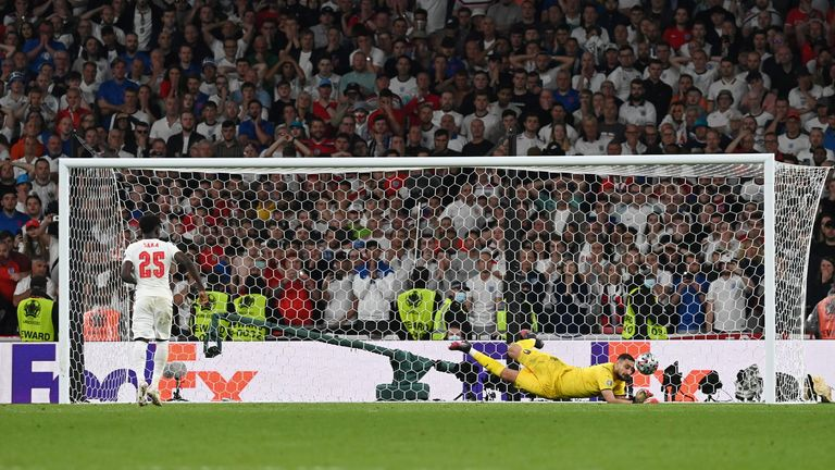 England's Bukayo Saka's effort is saved during the penalty shootout against Italy
