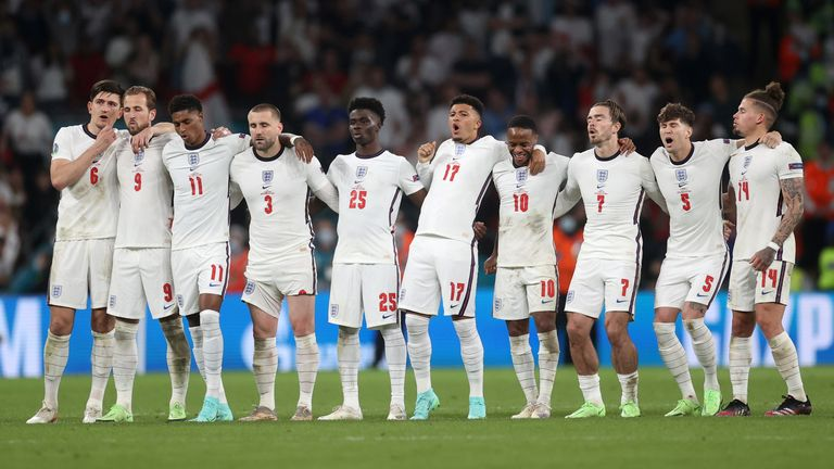 England players watch the penalty shootout