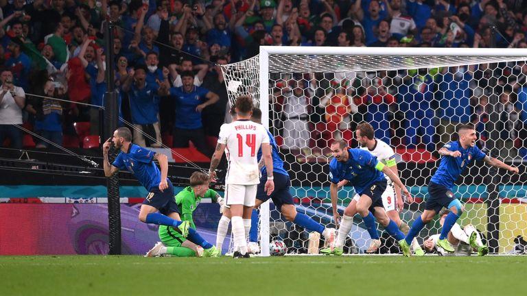 Leonardo Bonucci celebrates after netting Italy's equaliser against England