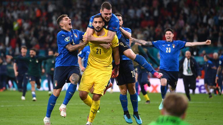 Italy celebrate winning Euro 2020 at Wembley