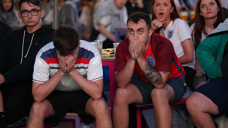 Fans at Luna Springs in Birmingham watch the Euro 2020 semi final match between England and Denmark. Picture date: Wednesday July 7, 2021.