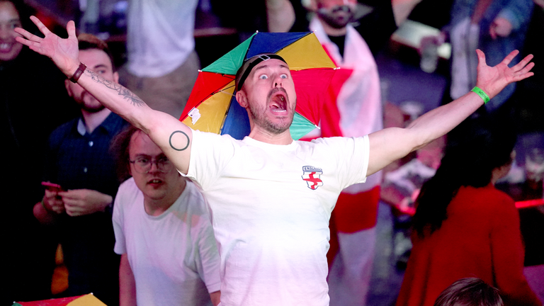 An England fan at BOXPARK in Croydon reacts as they watch the Euro 2020 semi final match between England and Denmark. Picture date: Wednesday July 7, 2021.