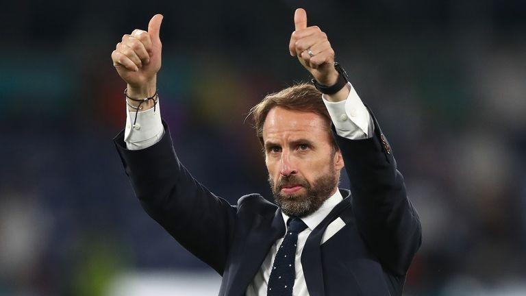 England manager Gareth Southgate applauds the fans after the UEFA Euro 2020 Quarter Final match at the Stadio Olimpico, Rome. Picture date: Saturday July 3, 2021.