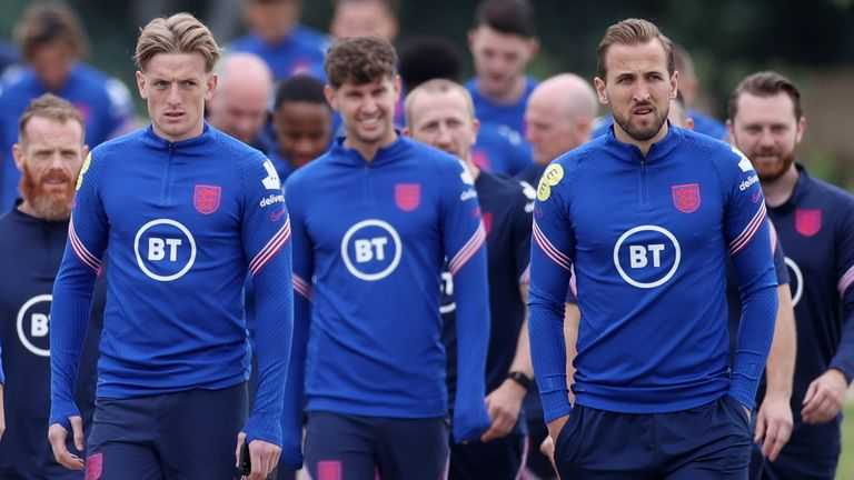 Jordan Pickford (left) and John Stones (centre) will be hoping to clean another clean sheet on Saturday, while captain Harry Kane is set to lead the team out in Rome