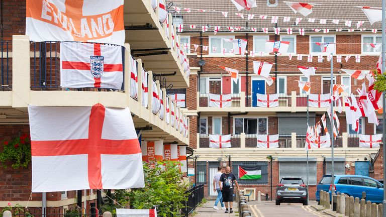 The Kirby Estate, in Bermondsey, south London, is decorated with England flags