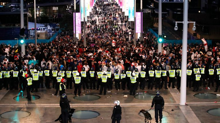 Police and fans outside Wembley for the Euro 2020 final