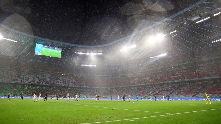 Soccer Football - Euro 2020 - Group F - Germany v Hungary - Football Arena Munich, Munich, Germany - June 23, 2021 General view during the match Pool via REUTERS/Kai Pfaffenbach