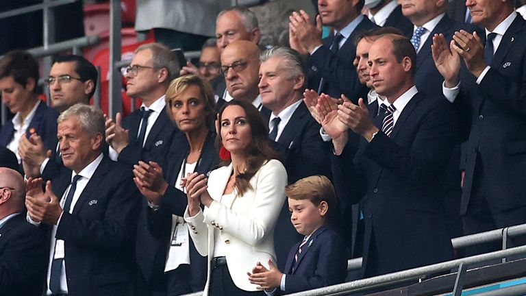 The Duke and Duchess of Cambridge and Prince George in the stands at Wembley for Italy v England