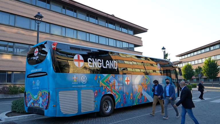 The England team coach in Rome on Friday. Pic: AP