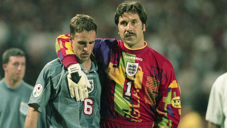 Southgate is consoled by teammate David Seaman. Pic: AP