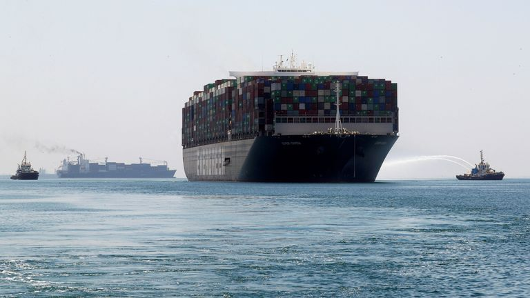 Ever Given, one of the world's largest container ships, sets sail to leave at the Suez Canal after the canal authority reached a settlement with the vessel's owner and insurers, in Ismailia, Egypt, July 7, 2021. REUTERS/Amr Abdallah Dalsh