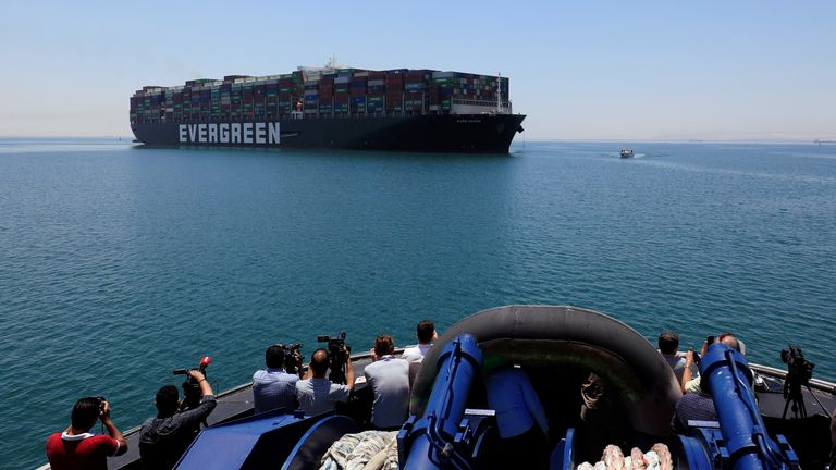 Ever Given, one of the world's largest container ships, is seen at the Suez Canal after the canal authority reached a settlement with the vessel's owner and insurers, in Egypt's Great Bitter Lake in Ismailia, Egypt, July 7, 2021. REUTERS/Amr Abdallah Dalsh
