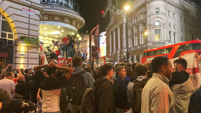 football fans in Leicester Square