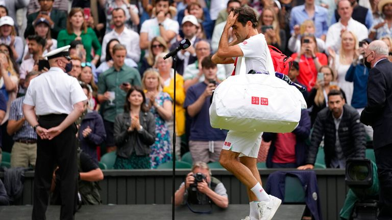 Roger Federer was given a standing ovation as he left Centre Court
