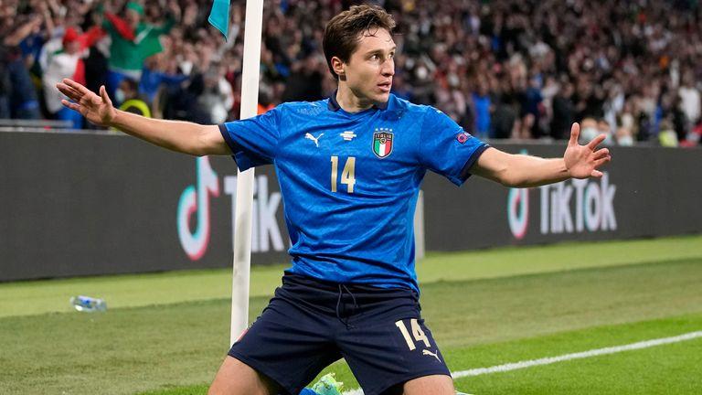 Federico Chiesa celebrates scoring for Italy