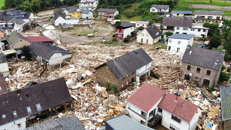Flood-affected area in Schuld, Germany