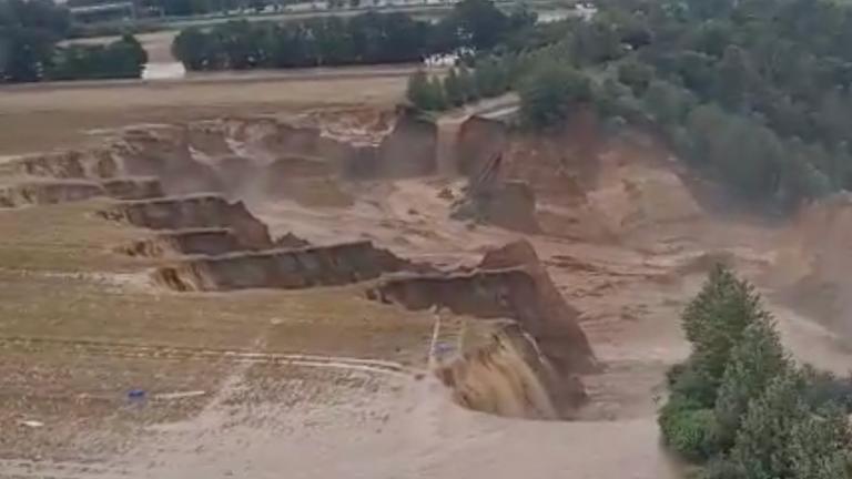 Aerials of flood destruction in Erftstadt, Germany