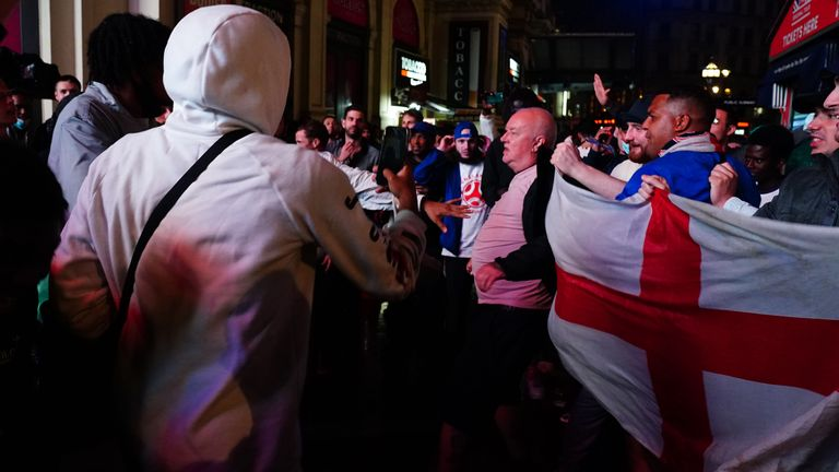 England fans clash with Italian fans in central London
