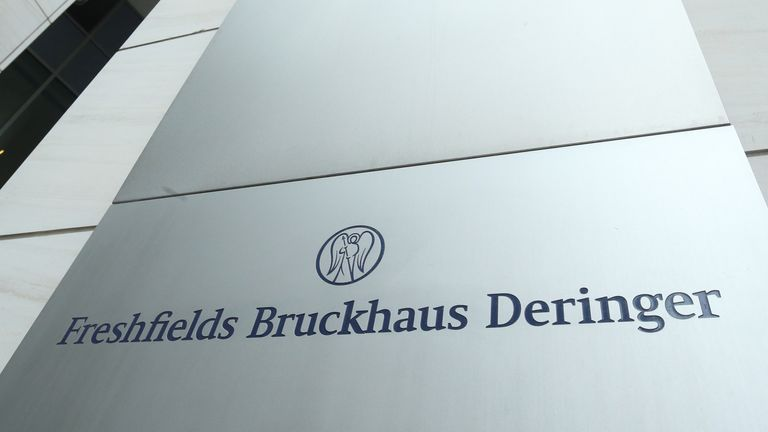 A nameplate of the Freshfields Bruckhaus Deringer LLP office is pictured in Frankfurt, Germany December 16, 2019