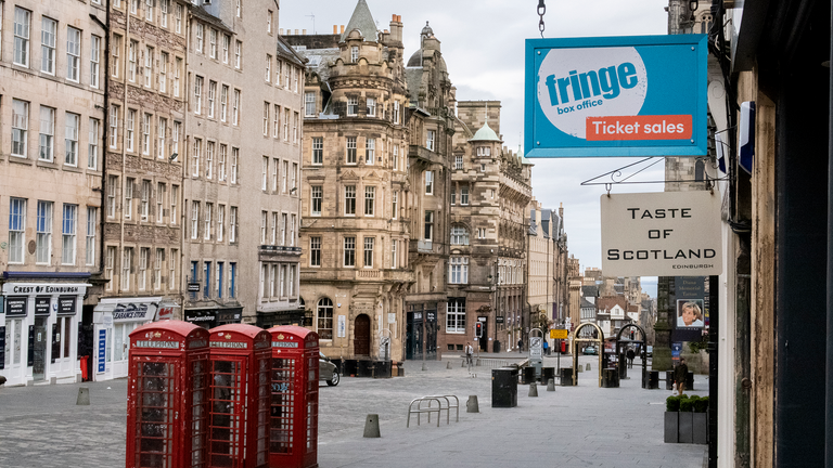 The Edinburgh Fringe shop and ticket office on Edinburgh's Royal Mile. The Edinburgh Fringe, along with the Military Tattoo, Edinburgh International Festival, Edinburgh Art Festival and the Edinburgh International Book Festival have all been cancelled this year due to concerns around the Covid-19 pandemic.
