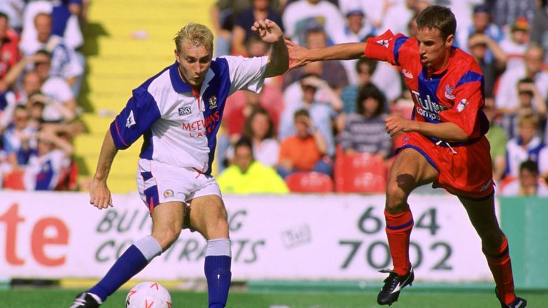 Gareth Southgate (R) in action for Crystal Palace in 1992. Pic: Action Images Film