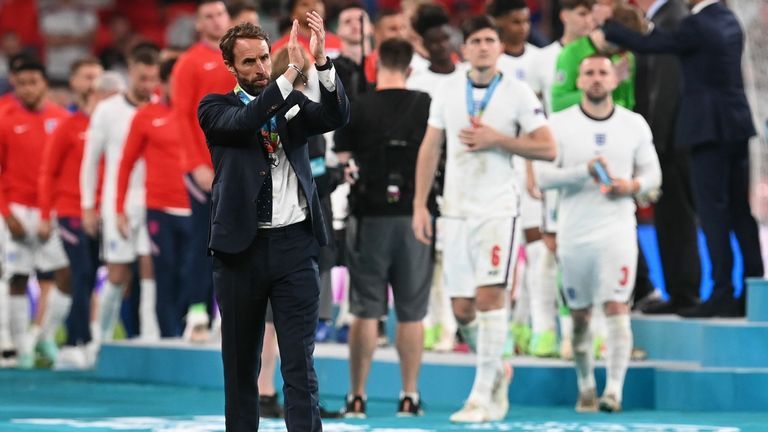 Gareth Southgate applauds fans after the final of Euro 2020