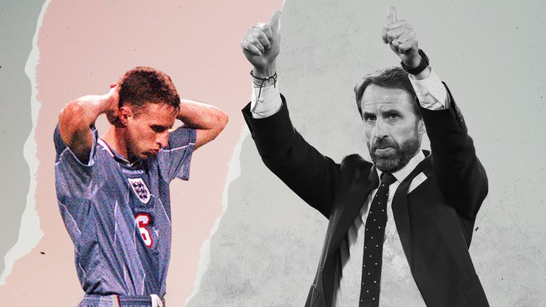 Gareth Southgate pictured at Euro 96 and Euro 2020
