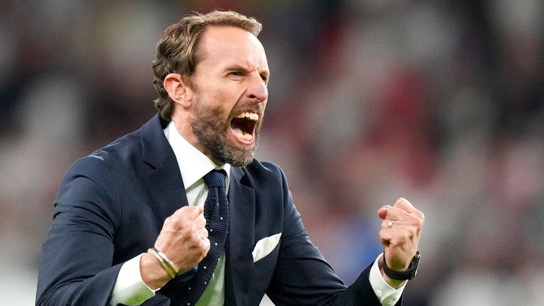 Southgate celebrates England's win over Denmark on Wednesday. Pic: AP