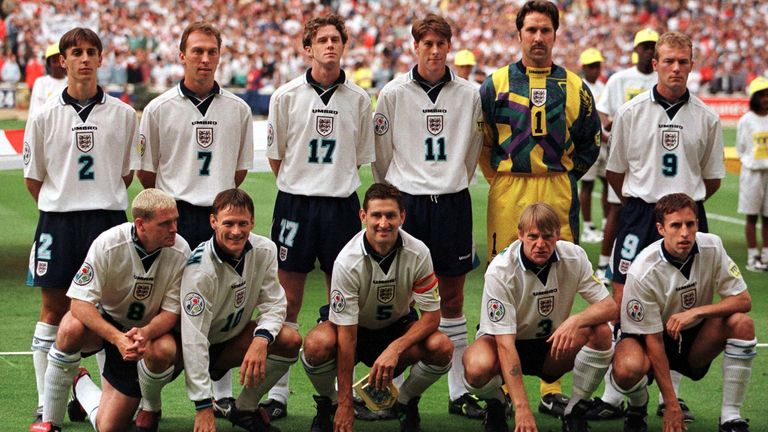 Southgate (bottom right) lines up for England at Euro 96