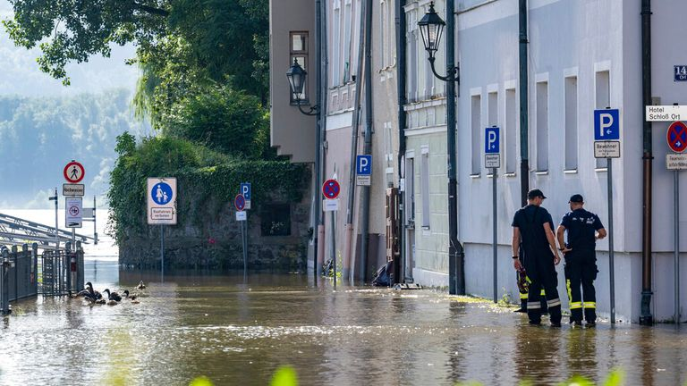 Recovery efforts continue in Passau after the Danube flooded. Pic: AP