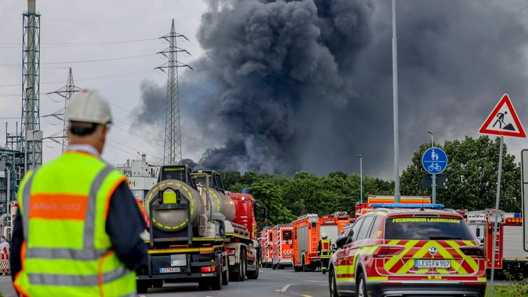 Emergency services at the scene. Pic: Oliver Berg/dpa/AP