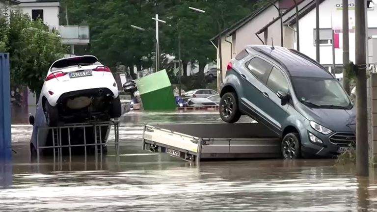VIDEO SHOWS: CARS AND ROADS WASHED AWAY, DEBRIS FLOATING IN THE WATER, WATER RUSHING PAST HOUSES, RESIDENTS  SHOTLIST ONLY. COMPLETE SCRIPT TO FOLLOW  SHOWS: BAD NEUENAHR, EIFEL, GERMANY (JULY 15, 2021) (EXTREMWETTER TV - NO ACCESS GERMANY)