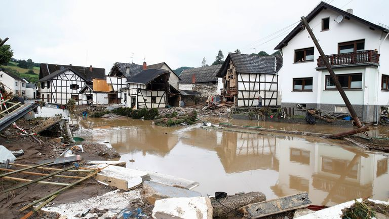 A general view of a flood-affected area following heavy rainfalls in Schuld, Germany, July 15, 2021. REUTERS/Wolfgang Rattay