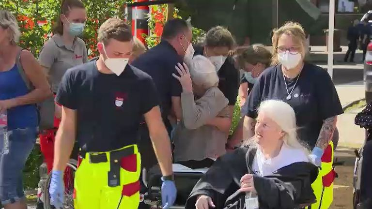 Care home residents in German town of Erfstadt affected by the flooding.