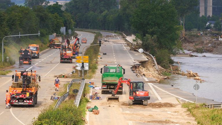 The clean-up and repair mission continues in Bad Neueahr, Rhineland-Palatinate. Pic: AP