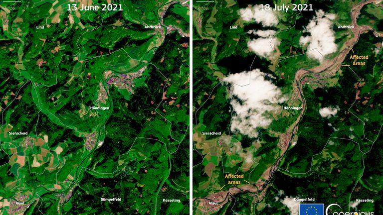 Satellite imagery shows the Ahrweiler district in Germany before and after the floods. Pic: European Union, Copernicus Sentinel-2 imagery