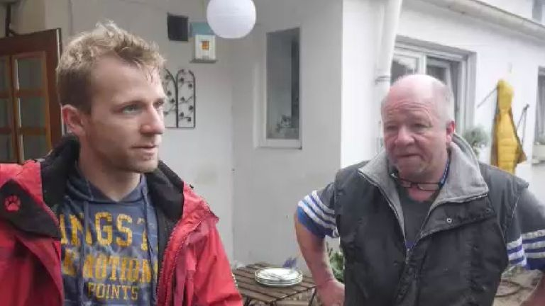 Nils Nettersheim (L), with his father Bernd, said they weren't expecting such a large amount of water