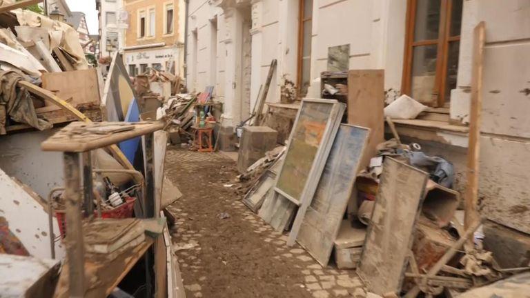 Debris left in the town of Ahrweiler
